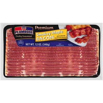Plumrose® Premium Hardwood Smoked Smokey Maple Bacon 12 oz. Package