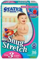 Stater Bros. Snug Stretch Adjustable Stretch Grip Jumbo Pack Size 3 16-28 Lbs Diapers 36 Ct Bag