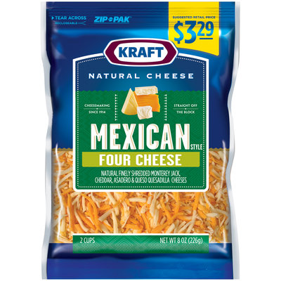 Kraft Natural Cheese Shredded Mexican Style Four Cheese Blend 8 oz. ZIP-PAK®