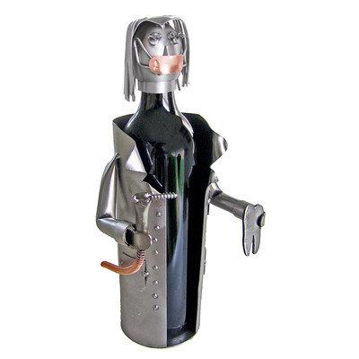 H & K Sculptures Female Dentist 1 Bottle Tabletop Wine Rack