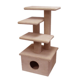 Animal Stuff The Scruff Jr. Cat Tree - Color: Beige, Option: Without Sisal Rope or Curved Shelf