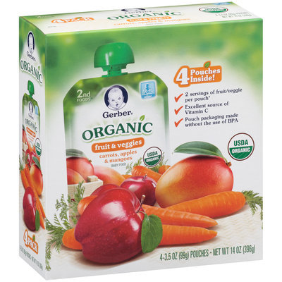 Gerber® 2nd Foods® Organic Carrots, Apples & Mangoes Fruit & Veggie Puree Baby Food 4-3.5 oz. Pouches