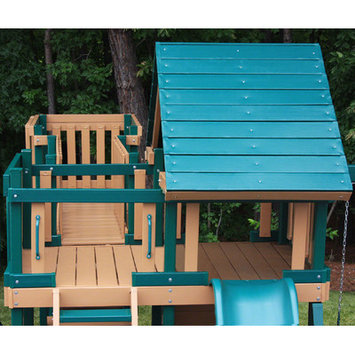 Kidwise Outdoor Products Inc Kidwise Congo Monkey Play System No. 5 with Swing Beam - Green/Cedar