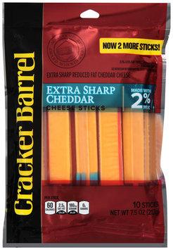 Cracker Barrel Extra Sharp Cheddar Cheese Sticks Made with 2% Milk 10 ct Bag