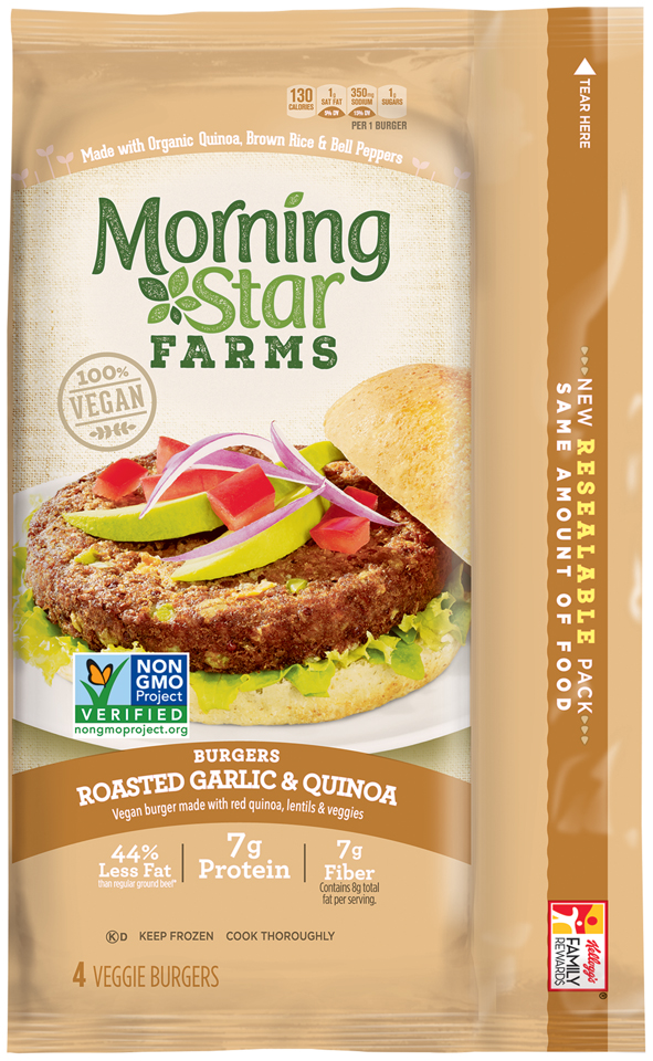 MorningStar Farms® Burgers Roasted Garlic & Quinoa 9.5 oz. Pouch