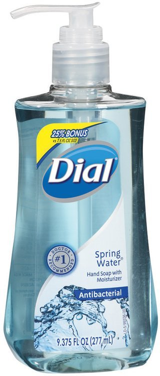 Dial Liquid Antibacterial Spring Water Hand Soap 9.375 Oz Pump