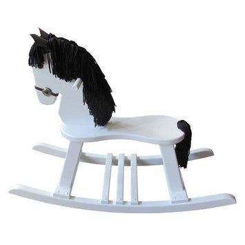 Fireskape Amish Crafted Pony Rocking Horse with Mane Mane Color: Black, Finish: Maple White