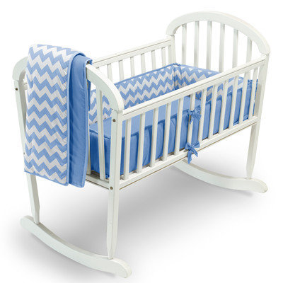 Baby Doll Bedding Chevron 3 Piece Cradle Bedding Set Color: Blue