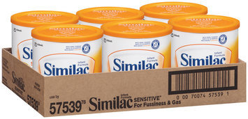 Similac Sensitive For Fussiness & Gas W/Iron 12.6 Oz Canisters Infant Formula 6 Ct Tray