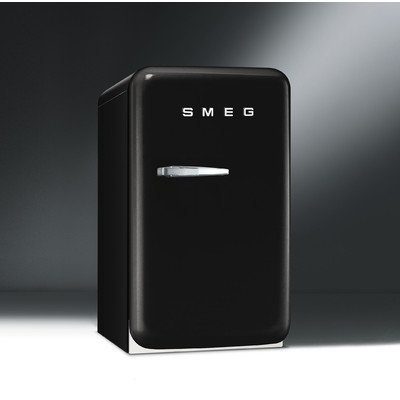Smeg FAB5ULNE 1.5 Cu. Ft. Black Undercounter Compact Refrigerator - Left Hinge