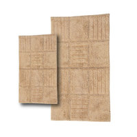 Textile Decor Castle 2 Piece 100% Cotton Chakkar Board Spray Latex Bath Rug Set, 34 H X 21 W and 40 H X 24 W