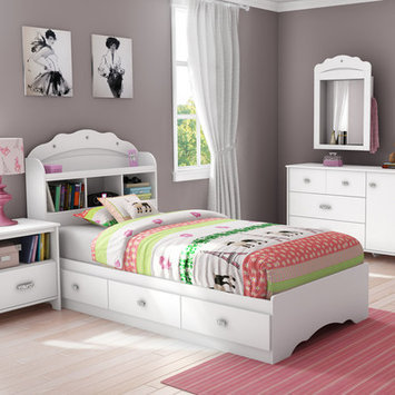 South Shore Tiara Twin Mates Bed with Drawers and Bookcase Headboard