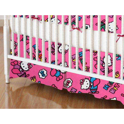 Stwd Hello Kitty Airplanes Crib Skirt