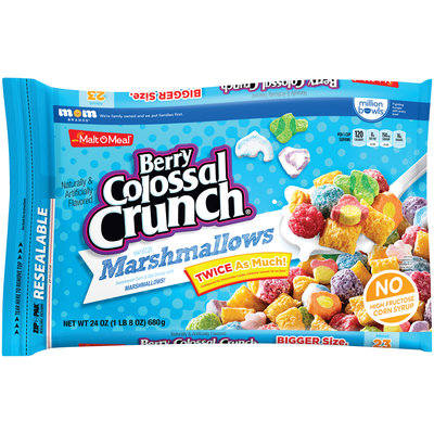 Malt-O-Meal® Berry Colossal Crunch® with Marshmallows Sweetened Corn & Oat Cereal 24 oz. ZIP-PAK