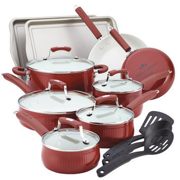 Paula Deen 17-pc. Nonstick Savannah Collection Cookware Set, Red
