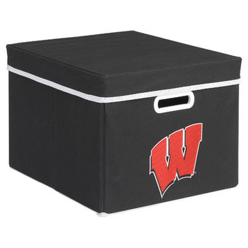 MyOwnersBox College STACKITS University of Wisconsin 12 in. x 10 in. x 15 in. Stackable Black Fabric Storage Cube 12019003CWIS