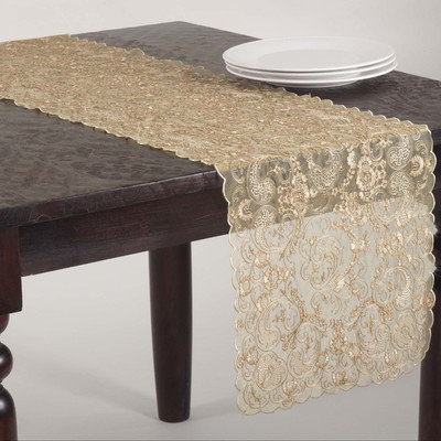 Saro Ivory Lace Embroidered Table Linen