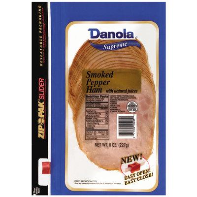 Danola Supreme Smoked Sliced Ham Pepper 8 Oz Zip Pak
