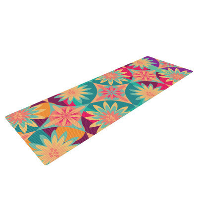 Kess Inhouse Happy Flowers by Nika Martinez Floral Abstract Yoga Mat