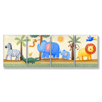 Stupell Industries Kids Room Triptychs Zebra Elephant Lion Wall Plaques (Set of 4)
