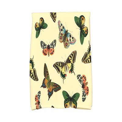 August Grove Sun Valley Butterflies Wildlife Print Hand Towel Color: Yellow