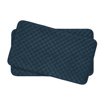 Bath Studio Massage Premium Micro Plush Memory Foam Bath Mat Set Color: Dusty Blue