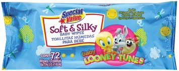 Special Value Soft & Silky Baby Looney Tunes Baby Wipes 72 Ct Bag