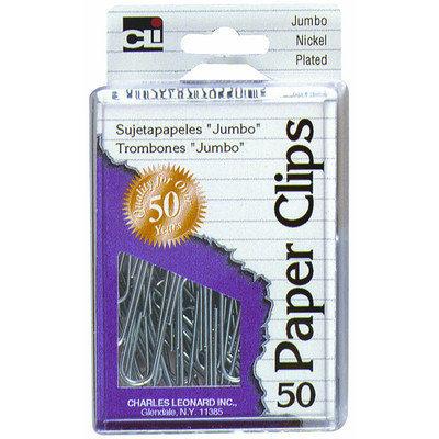 Charles Leonard Inc Jumbo Nickel Plated Paper Clips 50 Count