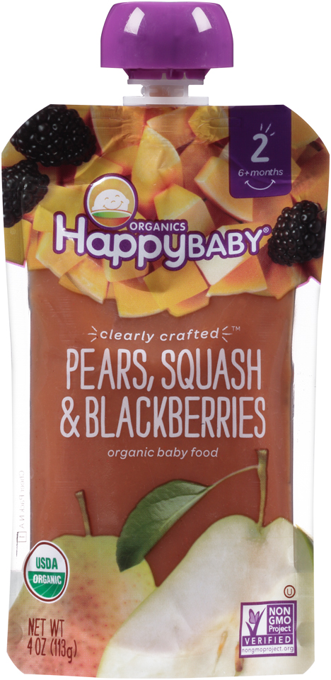 Happy Baby® Organics Pears, Squash & Blackberries 4 oz. Pouch