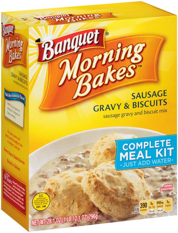 Banquet® Morning Bakes™ Sausage Gravy & Biscuit Complete Meal Kit 28.1 oz. Box