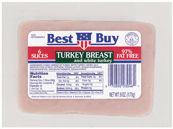 Best Buy White Turkey 97% Fat Free 6 Slices Sliced Turkey Breast 6 Oz