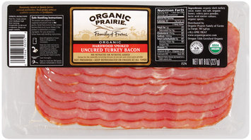 Organic Prairie Organic Uncured Hardwood Smoked Turkey Bacon 8 Oz Package