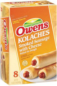 Owens Kolaches Smoked Sausage W/Cheese Baked In Dough 8 Ct Sandwiches 16 Oz Box