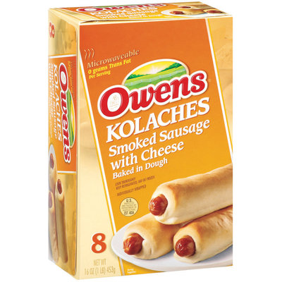 Owens Kolaches Smoked Sausage W/Cheese Baked In Dough 8 Ct Sandwiches 16 Oz Box