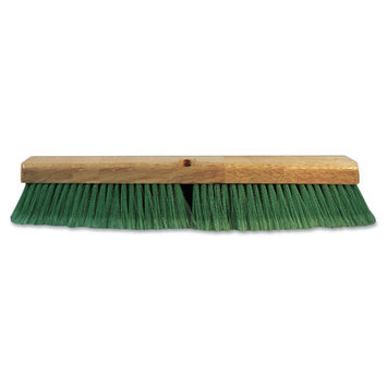 Proline Brush Push Broom Head, 3 Green Flagged Recycled PET Plastic