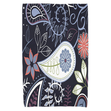 Red Barrel Studio Paisley Floral Beach Towel Color: Navy Blue
