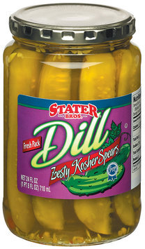 Stater Bros. Zesty Kosher Dill Spears Pickles 24 Fl Oz Jar