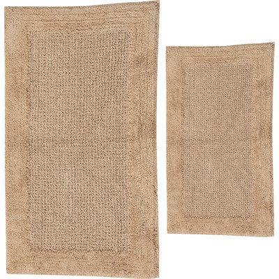 Textile Decor Castle 2 Piece 100% Cotton Naples Spray Latex Bath Rug Set, 34 H X 21 W and 40 H X 24 W, Natural