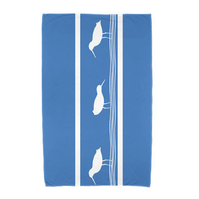 Breakwater Bay Birdwalk Animal Print Beach Towel Color: Blue
