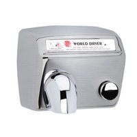 World Dryer Model A Durable Hand Dryer Finish: Brushed Stainless Steel, Voltage: 110-120 V, 15 Amps
