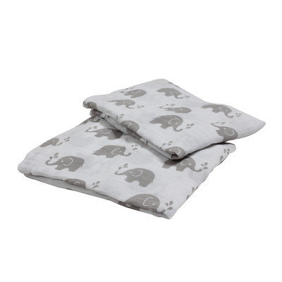 Bacati Elephants Muslin Crib Sheet Color: Grey