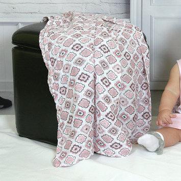 Stephan Baby White & Pink Diamond Flower Swaddling Blanket