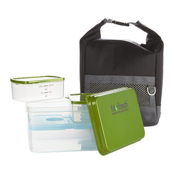 Fit & Fresh Men's 10 Piece Sporty Lunch Bag Set with Reusable Containers and Included Ice Pack