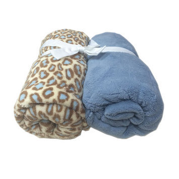 Cozy Fleece Microplush Fitted Crib Sheet Color: Blue/Blue Leopard