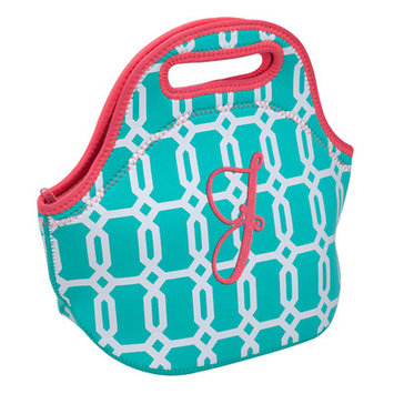 Occasionally Made Turquoise Geometric 'J' Insulated Lunch Bag