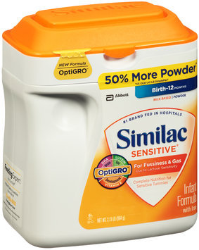 Similac Sensitive® For Fussiness & Gas with Iron Milk Based Powder Infant Formula 2.13 lb. Tub