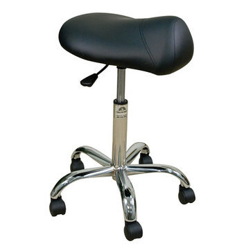 Oakworks Professional Saddle Stool with Chromed Steel Base Color: Forest