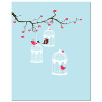 Secretly Designed Tree Blossom Bird Cage Art Print Size: 11