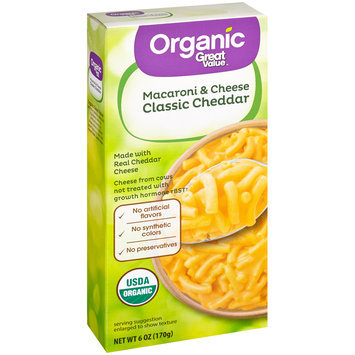 Great Value™ Organic Classic Cheddar Macaroni & Cheese 6 oz. Box