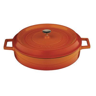 Lava Cookware Signature Enameled Cast-Iron Braiser Oven, 3.5-qt, Orange Spice